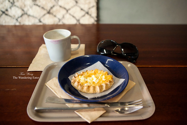 My cappuccino and Karelian pie (rice filling)