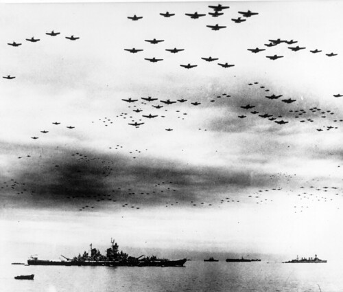 Surrender of Japan, 2 September 1945  Navy carrier planes fly in formation over the U.S. and British fleets in Tokyo Bay during surrender ceremonies. | by San Diego Air & Space Museum Archives