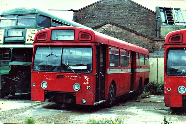 AEC Merlin MBA593 AML593H and RMC1479 479CLT seen at Camberwell garage November 1981 not long before they were scrapped