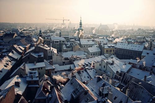 city morning snow cold frozen nikon europe day prague pra praha czechrepublic 20mm decemeber
