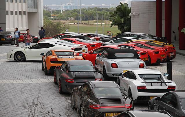 Ferrari... Lamborghini... Porsche... Bentley... Chek Lap Kok, Hong Kong