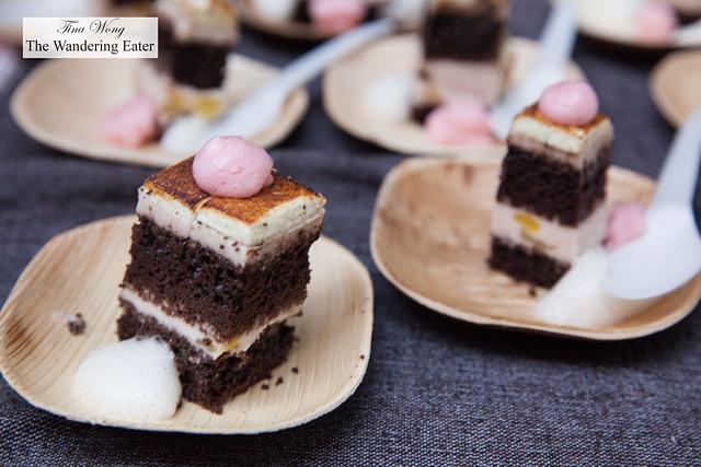 Asahi Taro mousse cake, beer foam, prickly pear foam by Delicias Urbanas
