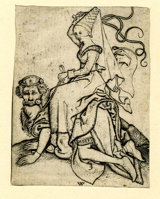 After Monogrammist BR & anchor - Aristotle and Phyllis (print 1485-1500)