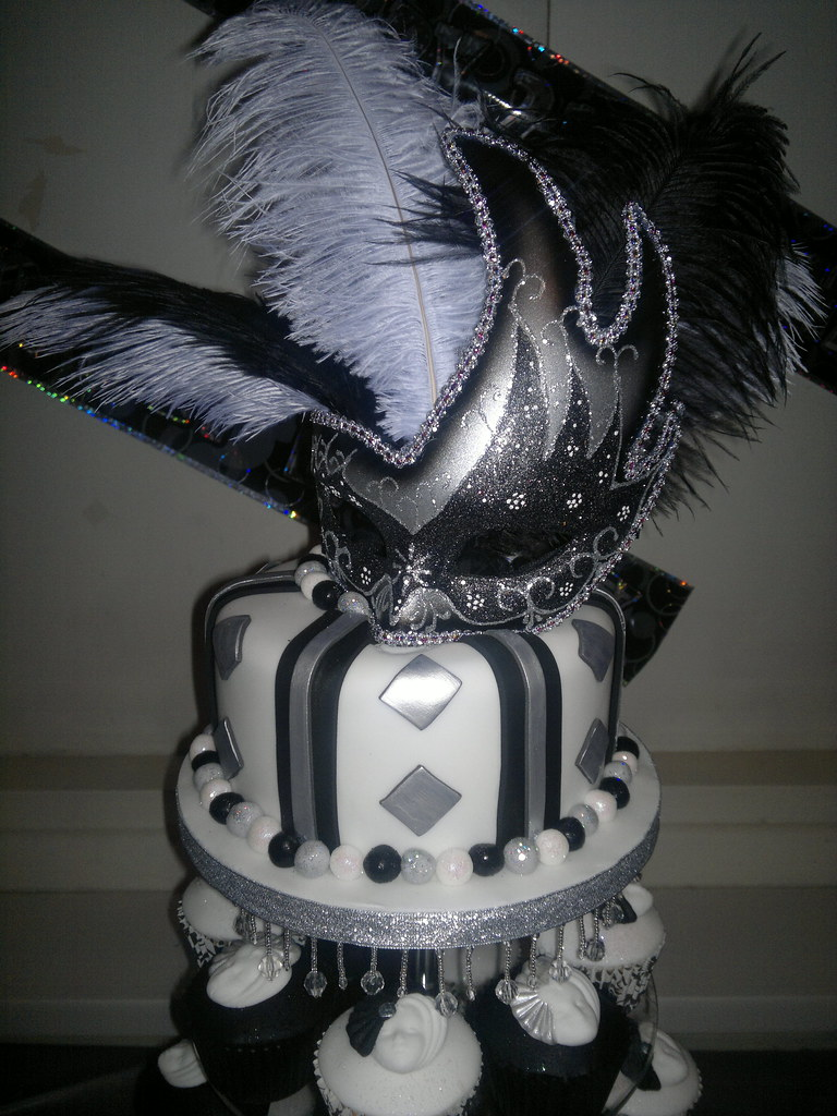 Surprising Black White And Silver Masquerade 21St Birthday Cake And Flickr Personalised Birthday Cards Epsylily Jamesorg