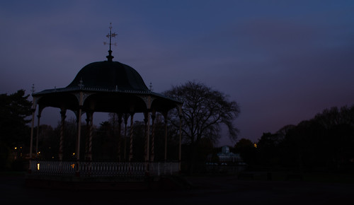 West Park bandstand, lake and conservatory