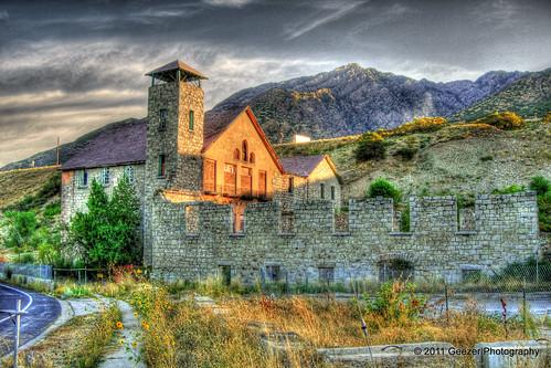 autumn building architecture sunrise utah hdr bigcottonwoodcanyon cottonwoodpapermill gunged geezerphotography