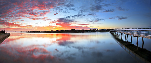 morning pink november red reflection water yellow sunrise geotagged spring footbridge australia victoria lakesentrance 241 2011 luketscharke cunninghamearm geo:lat=3788000567150044 geo:lon=14799387653103565