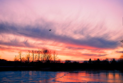 winter sunset sky reflection ice silhouette clouds airplane frozen pond nikon shadows michigan annarbor approach greatesthits iphotooriginal 100photos mybestwork mallettscreek d3000 annarborairport southeastarea aperture3
