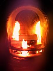 log fire lit