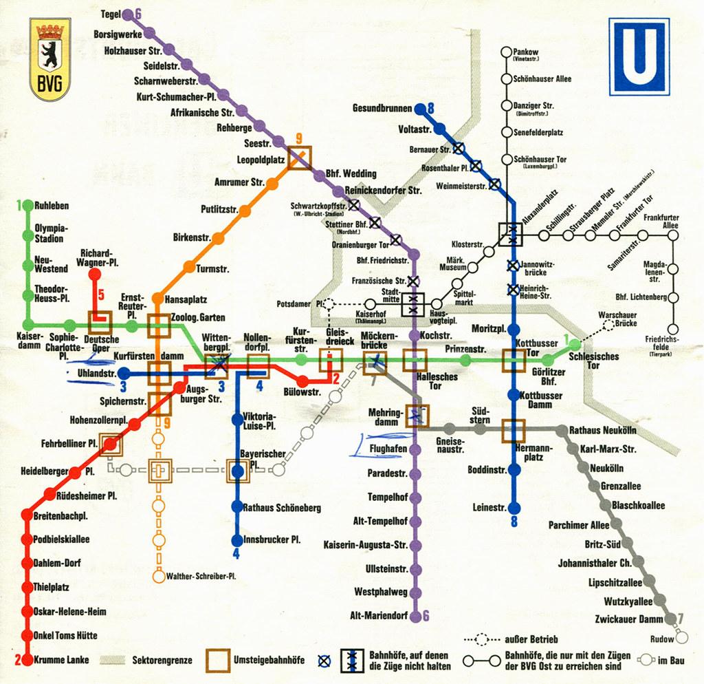 Berlin Wall Subway Map.Berlin U Bahn Subway Map 1970 A Map Of Berlin S U Ba Flickr