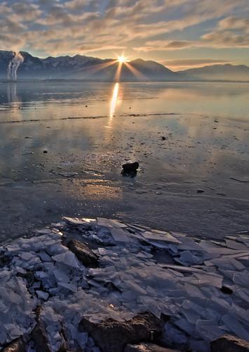 mountains ice clouds sunrise sunburst utahlake
