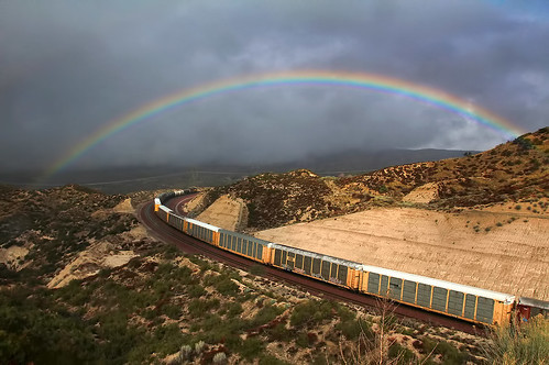 california ca railroad travel usa color nature up rain weather train photoshop canon landscape photo interestingness interesting rainbow track day photographer cs2 cloudy january picture rr explore socal adobe unionpacific southerncalifornia bnsf eb 2012 adjust eastbound infocus sanbernardinocounty burlingtonnorthernsantafe cajonpass cajonsummit denoise 60d topazlabs photographersnaturecom davetoussaint cajonsubdivision mygearandme ringexcellence dblringexcellence