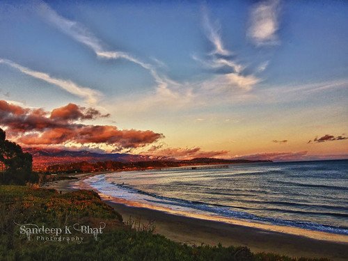 ocean sunset beach clouds canon pier pacific dusk hdr ucsb formations s90 goleta