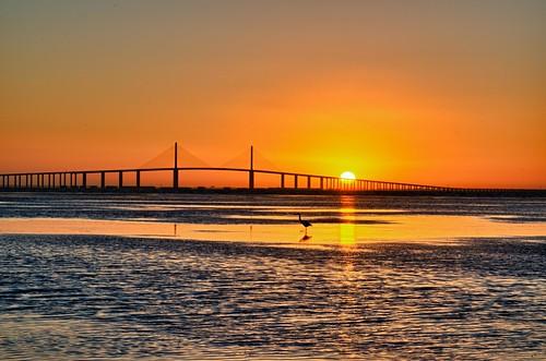 water sunrise stpetersburg florida fl fortdesoto sunshineskywaybridge nikkor2470mmf28ged nikond7000