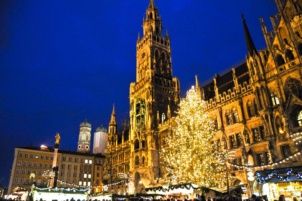 Christmas In Munich Germany.New City Hall And Christmas Market At Marienplatz Munich G