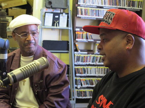 Kevin Devezin & Action Jackson talking on-air about the Undefeated Divas & Gents second line parade. photo by Briana Prevost