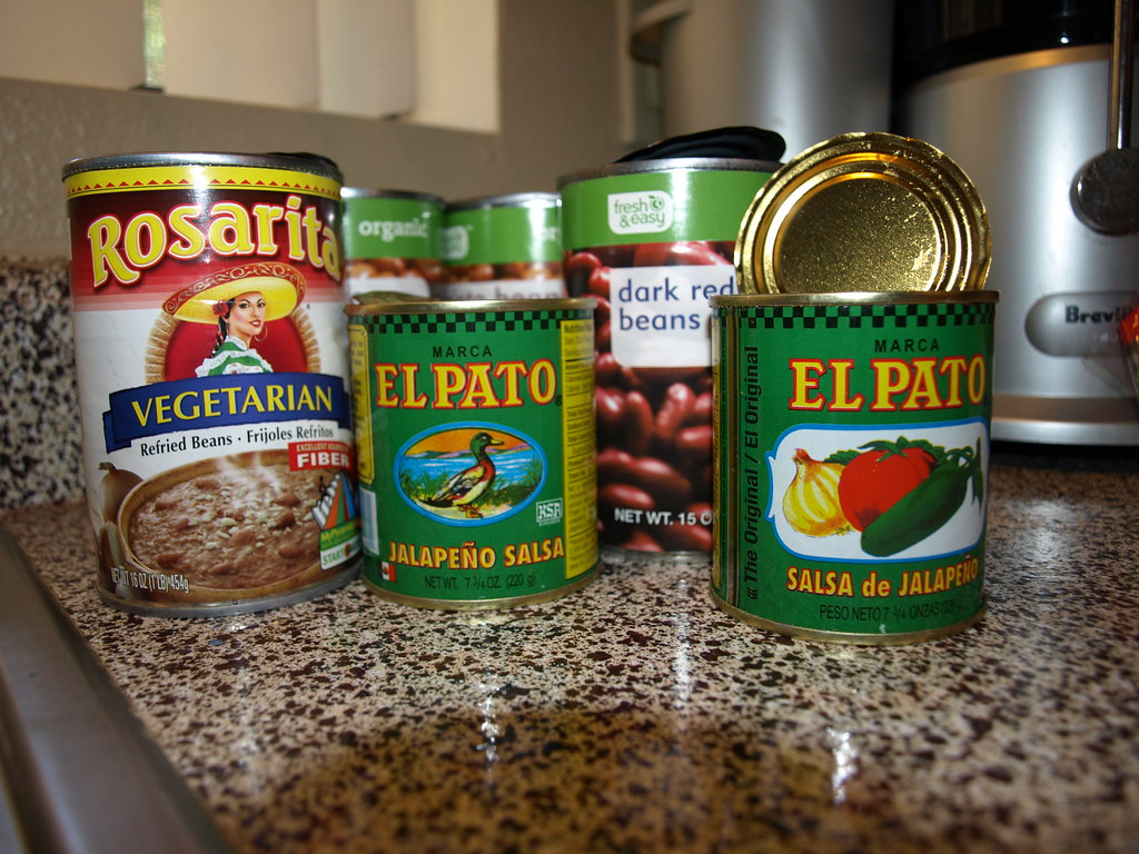 Cans of Mexican Food Ingredients