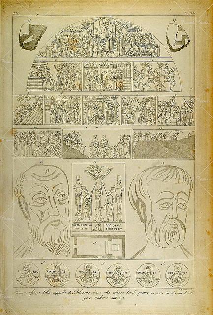 Rome Basilica SS Quattro Coronati - Schema of the frescoes in the Oratorio Saint Sylvester