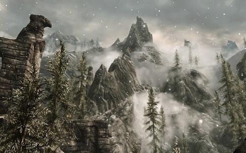 fog clouds view tes bethesda mouintains dragonborn skyrim theelderscrollsvskyrim