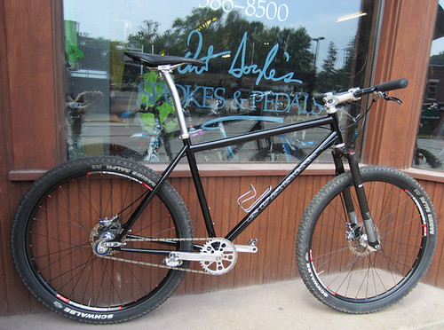 <p>Shown here in front of Art Doyle's in Hudson, Wi, this Gunnar Ruffian was ridden to victory by Brandon Stahnke in the single speed class at last year's Chequamegon Fat Tire Festival.  Brandon finished 8th overall.  61539.</p>