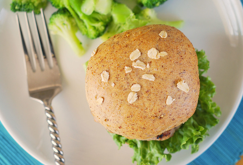 Wheat-Oat-Flax Buns - hearty homemade buns made with flax seeds, oats, and whole wheat flour. Perfect for burgers or sandwiches!