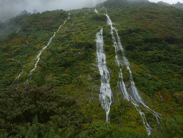 Unnamed waterfalls appear with the rain