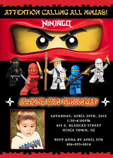 Lego Ninjago Custom Birthday Invitation