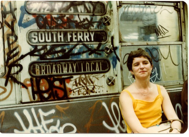My Mom in the New York City  subway in the 80's