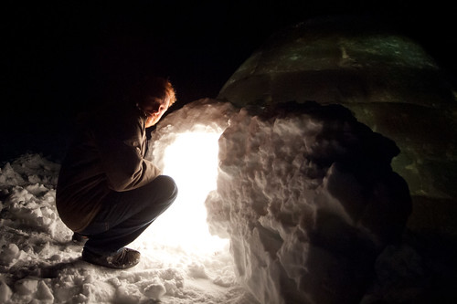 Tyler at the Igloo's Entrance | by goingslowly