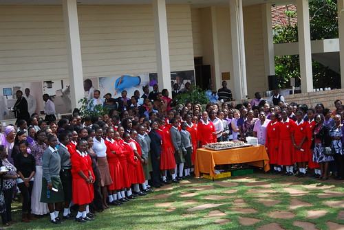Mar/2012 - ILRI staff and students from Loreto Limuru and Cardinal Otunga high schools celebrate the International Women's Day at the ILRI Nairobi campus on 8 Mar 2012. This year's theme was 'connecting girls, inspiring futures' (photo credit: ILRI/Newton Wanga).