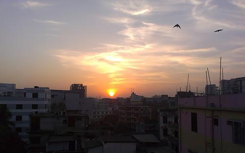 sunset shadow sky sun building nature beautiful sunrise natural dhaka bangladesh hdr
