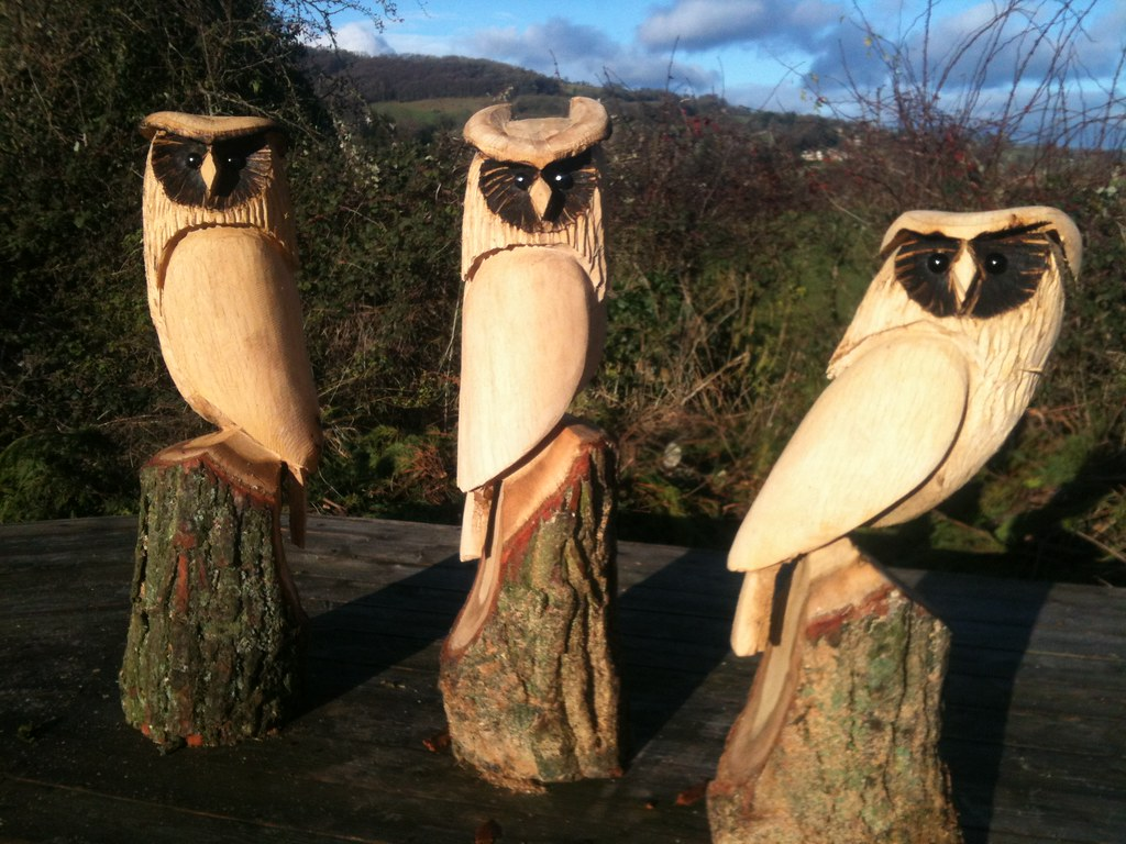 Chainsaw carving carved owl garden statue decoration natural