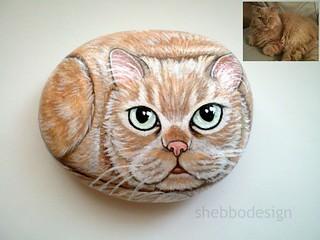 Painted Cat Rock - Custom Made Pet rock | by ShebboDesign