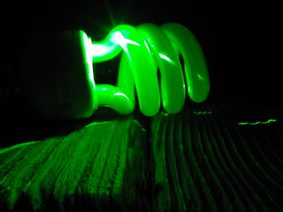 CFL bulb and green laser | by ikewinski