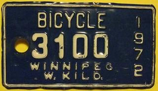 WINNIPEG, WEST KILDONAN MANITOBA  1972 ---BICYCLE LICENSE PLATE