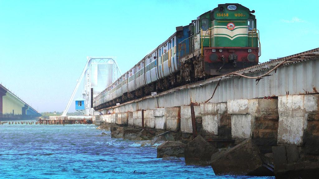 PAMBAN BRIDGE TRAIN ON SEA BOAT MAIL