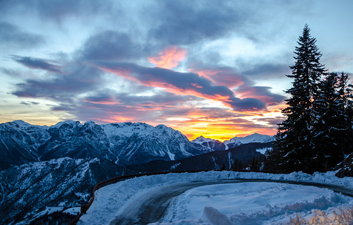road trees winter sunset italy snow mountains alps cold clouds montagne frozen nikon italia day cloudy snowy valle monte peaks alpi orobie bergamo lombardia lombardy avaro brembana pianidellavaro d5100