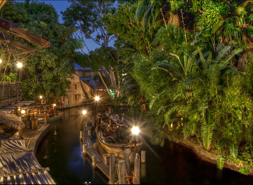 evening boat dock ride dusk disneyland disney adventure foliage exotic jungle tropical bluehour lush boathouse hdr highdynamicrange themepark attraction exciting junglecruise adventureland