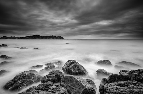 longexposure sea newzealand sky blackandwhite bw seascape beach water monochrome rock clouds bay coast nikon rocks surf waterfront filter lee nd northisland coromandel hahei nd110 mercurybay skanchelli
