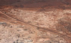Aerial view of mines at Coober Pedy