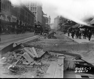 Repaving Second Avenue near University Street, 1914