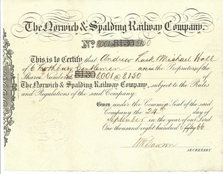 Norwich and Spalding Railway share certificate of 1866 | by ian.dinmore