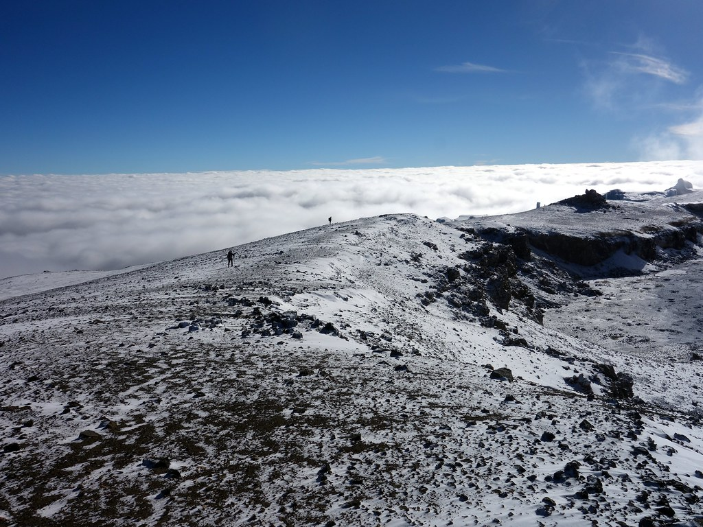 Above the clouds on Kilimanjaro's inner crater rim