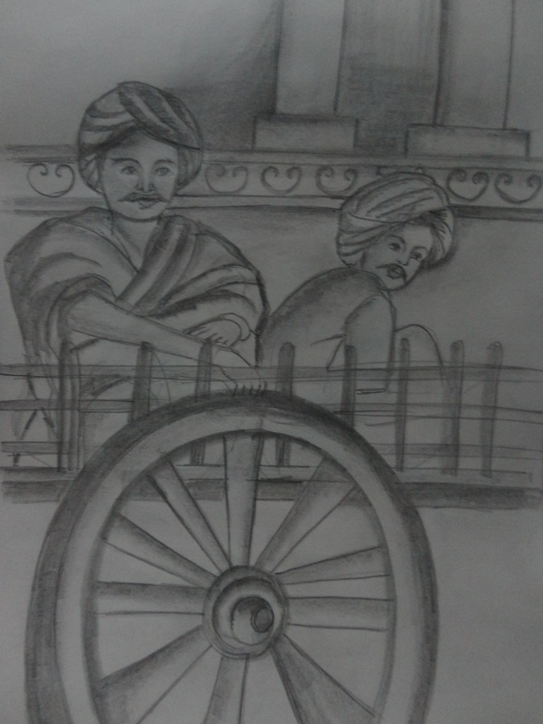 Pencil shade men sitting in bullock cart anuartcollections flickr