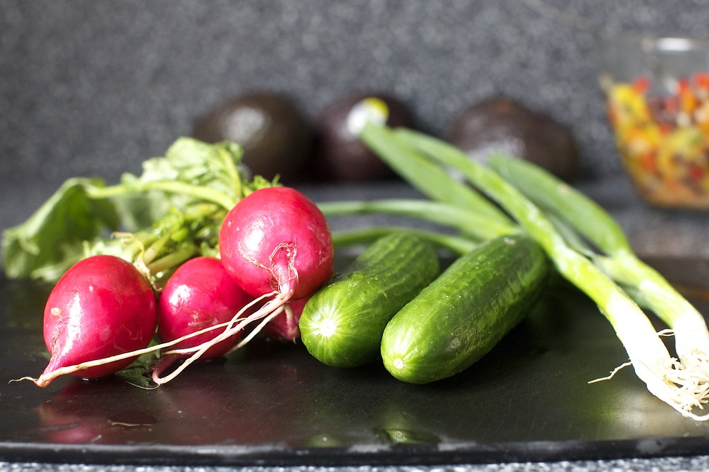 Radishes Cucumbers Scallions Avocado Cup Salads Two Way Flickr