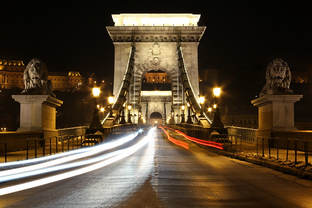 Chain bridge entrance at night 18 - viewed from the Pest side