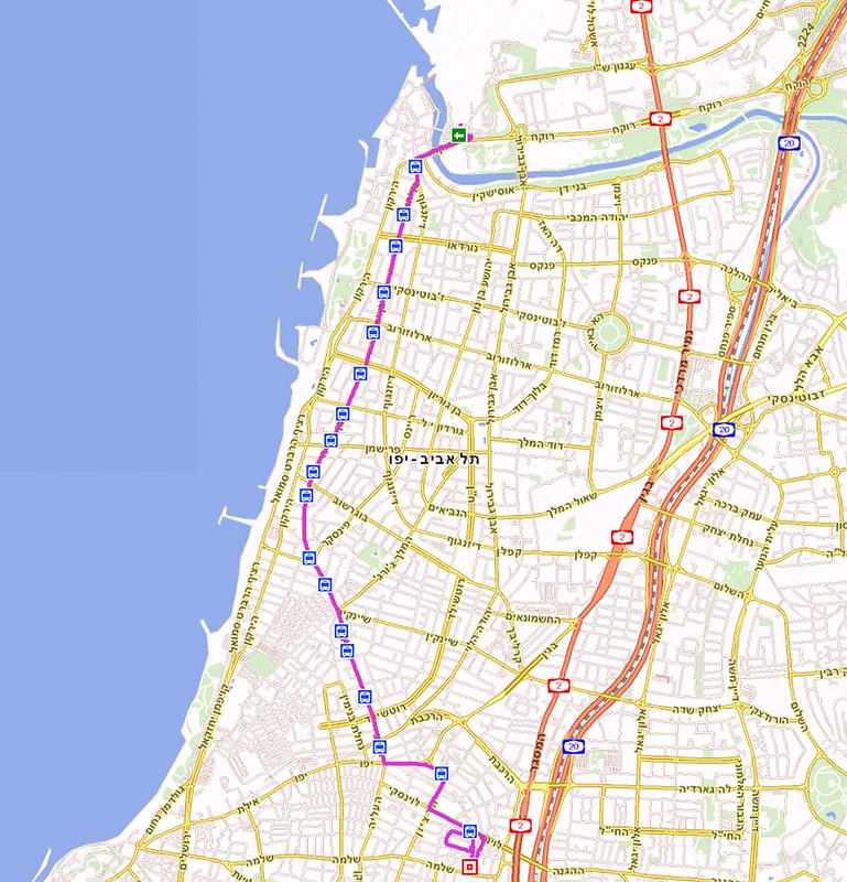מפת קו 4 במרכז תל-אביב מרידינג לתחנה המרכזית
