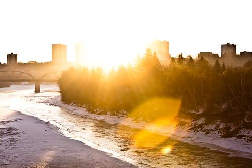 bridge trees winter light sun sunrise canon river frozen edmonton shine flare 247028l rivervalley highlevelbridge walterdale