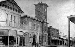 Oddfellows Hall, Post Office with clock tower and Telegraph Station, Murray Street, Gawler, early 1900s