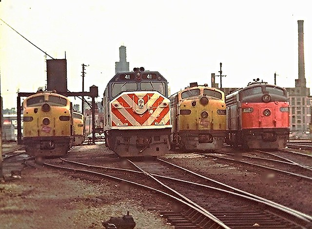 Milwaukee Road  Chicago Western Ave.Coach yard 5-1974 .  Chicago Ave.& Grand Ave.